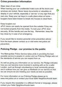 Met Police Leaflet side 2 crime prevention