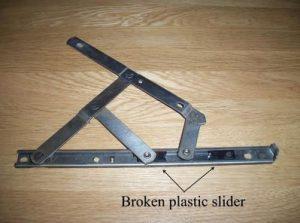 Broken plastic slider on window hinge