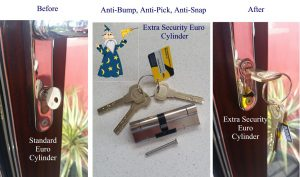 Extra security euro cylinder and key