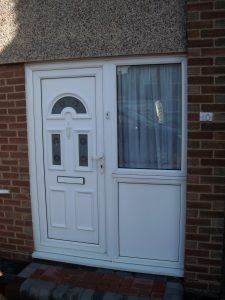 Double Glazing Repairs UPVC Front Door White Handles Letterbox Knocker