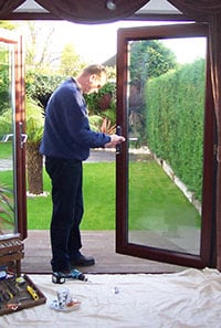 UPVC door lock repair service on french patio door multi lock