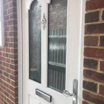Before & after photo Chrome door handle and letter box Bexley