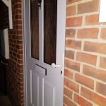 Composite Front Door Before & After photo of white handle and letter box Dartford
