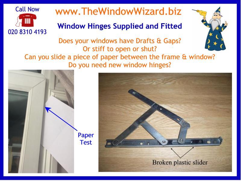 Jammed windows opened, broken window hinges replaced, locking window handles renewed