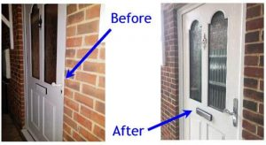 Double glazed composite door before and after photos of upgrade extra security cylinder, replacement door handles & letterbox